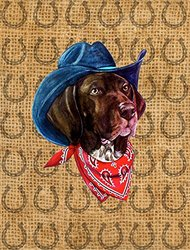 Caroline's Treasures SP5236CHF German Shorthaired Pointer Dog Country Lucky Horseshoe Canvas House Flag