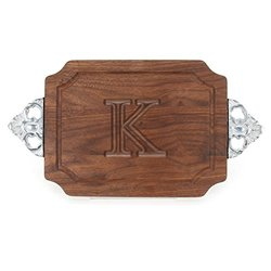 "BigWood Boards W300-SC-K Cutting Board with Handles, Monogrammed Wedding Gift Cutting Board, Small Cheese Board, Walnut Wood Serving Tray, ""K"""