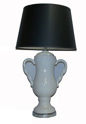 """A Ray Of Light 45973BL Classico 32"""" Ivory Double Handled Urn Table Lamp with A Black Hardback Modified Drum Shade"""