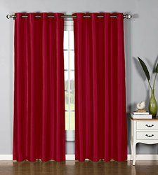 "Window Elements Jamie Faux Silk Extra Wide Grommet Curtain Panel, 54"" by 84"" Burgundy"