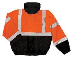 ML Kishigo 9671 Polyester Fleece Lined Bomber Jacket with Adjustable Cuffs, Extra Large, Orange