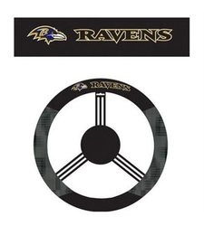 Baltimore Ravens Poly Suede & Mesh Steering Wheel Cover black