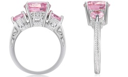 Grown Pink 2.5CTTW Brilliant Cut 10k WG Ring - Pink Sapphire - Size: 7