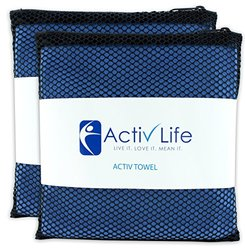 Activ Life Microsuede Gym Towels with Storage Bag - 2 Pack