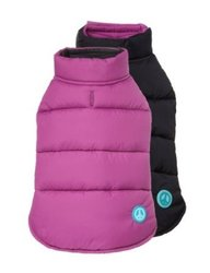 "Fab Dog 20"" Length Reversible Puffer Vest Dog Jacket - Purple/Black"