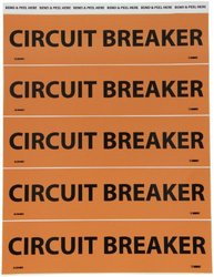"NMC JL2048O Electrical Marker, Legend ""CIRCUIT BREAKER"", 9 Length x 2-1/4"" Height, Pressure Sensitive Vinyl, Black on Orange (Pack of 25)"