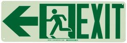 """Brady 21x7"""" """"Exit with Running Man - Arrow Left"""" Sign - Green"""