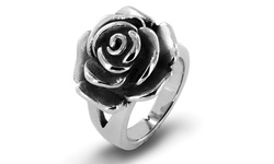 West Coast Jewelry High Polish Antique Blooming Rose Ring - Size: 8