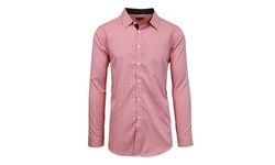 Galaxy by Harvic Men's Slim Fit Checker Shirt - White/Red - Size: Large