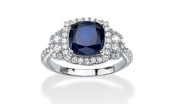 Palm Beach Jewelry 1.36 TCW Sapphire Halo Ring Platinum over Silver - Sz:5