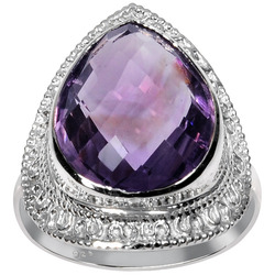 Orchid Jewelry 7.15CT Sterling Silver Amethyst Ring