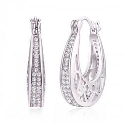 Sevil 18K Women's Swarovski Filigree Cut Out Hoop Earrings - White Gold