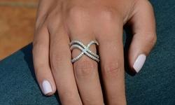 Golden Moon Swarovski Elements 18K Double X Ring - White Gold - Size: 6