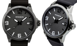 Rousseau Dafaux Men's Watch - Black/Grey Dial
