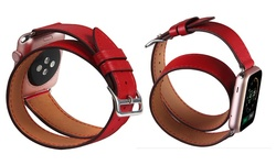 Waloo Leather Wrap Around Band for Apple Watches - Red - Size: 42mm