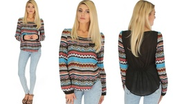 Casually Cute Women's Long Sleeve Chevron Patterned Top Blue - Size: Large