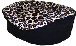 Pampered Pets Oval Pet Bed Suede with Leopard Animal Print - Black -Size:L