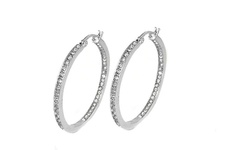 Swarovski 18K Women's White Gold Plated Inside Out Crystal Hoop Earrings