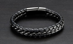 Men's Curb Chain Bracelet Intertwined Leather in Stainless Steel - Black