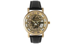 Collection Men's Imitation Skeleton Quartz Watch - Brown/Gold Skeleton