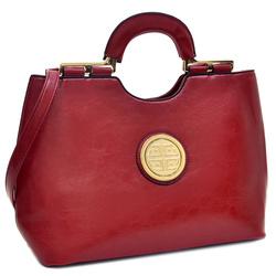 Taj Mahal Faux Leather Loop Handle Shoulder Bag - Red