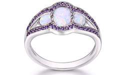 18K White Gold Plated Opal Amethyst CZ Ring - Size 10