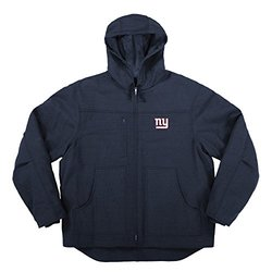 NFL NY Giants Men's Canvas Fleeced Lined Hooded Jacket - Navy - Size: L
