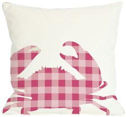 "Bentin Home Decor Plaid Crab Throw Pillow by OBC, 18""x 18"", White/Pink"
