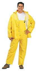 Liberty DuraWear PVC/Polyester 3-Ply 3-Piece Protective Rainsuit, 0.35mm Thick, X-Large, Yellow (Case of 10)