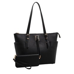 Farrah Tote and Wallet Set (Black)
