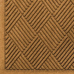 "Andersen 221 Waterhog Fashion Diamond Polypropylene Fiber Entrance Indoor/Outdoor Floor Mat, SBR Rubber Backing, 12.2' Length x 4' Width, 3/8"" Thick, Gold"