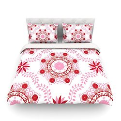 "Kess InHouse Anneline Sophia ""Let's Dance Red"" Pink Floral King Cotton Duvet Cover, 104 by 88-Inch"