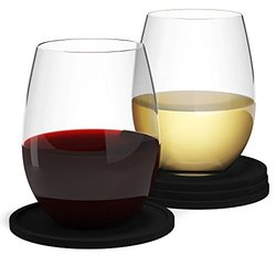 Barvivo 16 oz. Camping Wine Glasses with Coasters - Set of 4