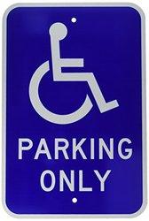"Brady 115251 CA Handicap Parking Sign, 18"" x 12"", White/Blue"