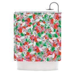 "Kess InHouse Akwaflorell ""Flying Tulips"" Red Green Shower Curtain, 69 by 70-Inch"