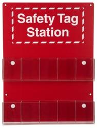 """Brady 10-Pocket Tag Safety Station, Legend """"Safety Tag Station"""""""