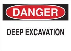 "Brady 78011 Corrugated Polypropylene Temporary Sign, 18"" X 24"", Legend ""Deep Excavation"""