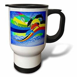 3dRose tm_167174_1 Abstract Dolphins on a Rainbow Wave Stainless Steel Travel Mug, 14-Ounce, White