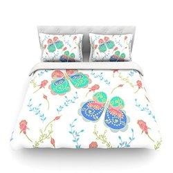 """Kess InHouse Anneline Sophia """"Leafy Butterflies Pink"""" Teal Butterfly Twin Cotton Duvet, 68 by 88-Inch"""