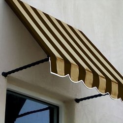 "Awntech 10' Santa Fe Window Awning - Brown/Tan Stripe - Size: 24"" x 12"""