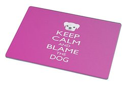 Rikki Knight RK-LGCB-753 Keep Calm and Blame The Dog Glass Cutting Board, Large, Pink