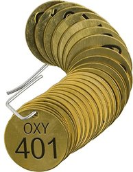 """Brady  87496 1 1/2"""" Diameter, Stamped Brass Valve Tags, Numbers 401-425, Legend """"OXY"""" (Pack of 25 Tags)"""