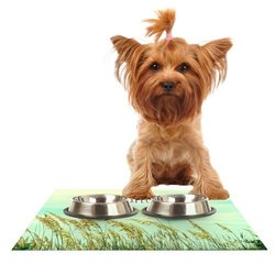 "Kess InHouse Robin Dickinson ""Explore"" Quote Green Feeding Mat for Pet Bowl, 24 by 15-Inch"