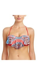 Red Carter Moroccan Tile Flounce Bandeau Bikini Top - Red Multi - Size: L