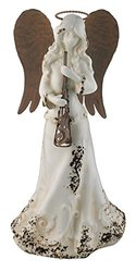 Regal Arts & Gifts Porcelain Rustic Angel Decor - Horn