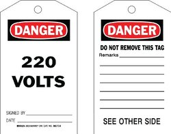 """Brady  86704 7"""" Height x 4"""" Width, Cardstock (B-853), Black/Red on White Accident Prevention Tags (100 Tags)"""