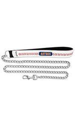 MLB Houston Astros Baseball Leather 3.5mm Pet Chain Leash - Size: Large