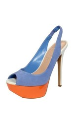 Jessica Simpson Halie Peep Toe Soft Suede Slingback - Lily - Size: 7.5