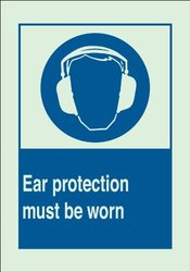 "Brady 90731 Glow-In-The-Dark Plastic Brady Glo Personal Protection Sign, 10"" X 14"", Legend ""Ear Protection Must Be Worn (with Picto)"""
