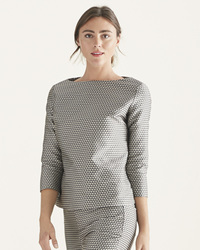 Serena & Lily Women's Faye Diamond Boatneck Top - Gray - Size: S